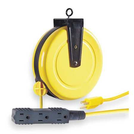 Cord Reel, 30ft, Yellow, 10A, 16/3, 120VAC