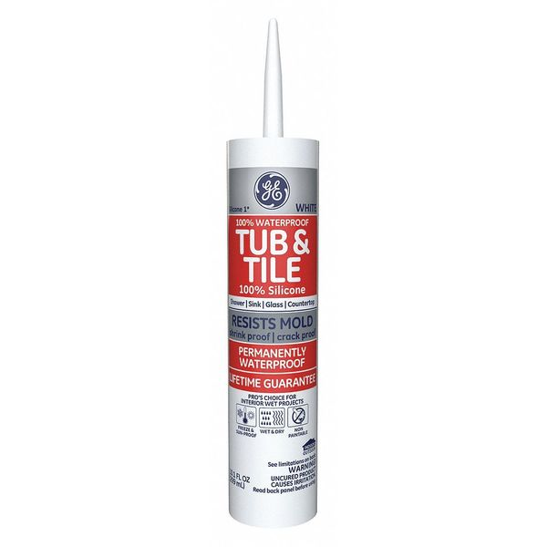 GE Tub and Tile Silicone Sealant 236378 White 10.1 oz Case o