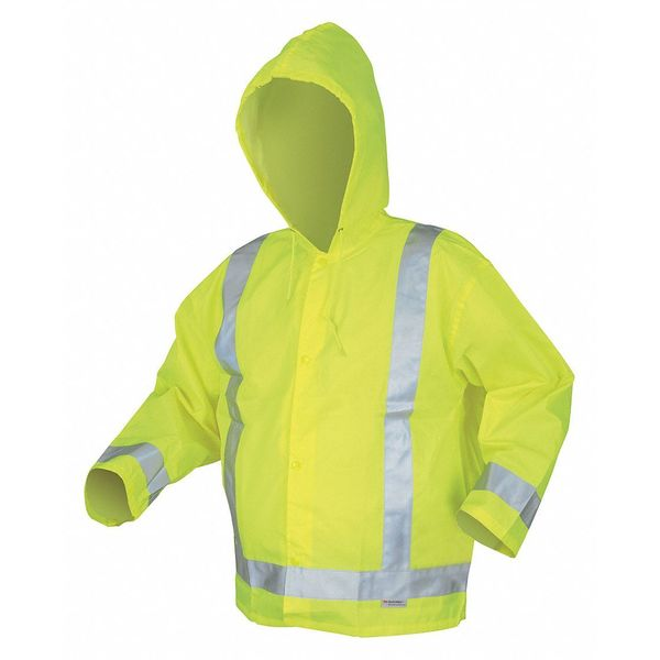MCR SAFETY 500RJHXL Rain Jacket w/Hood,Hi-Vis Yellow/Green,X