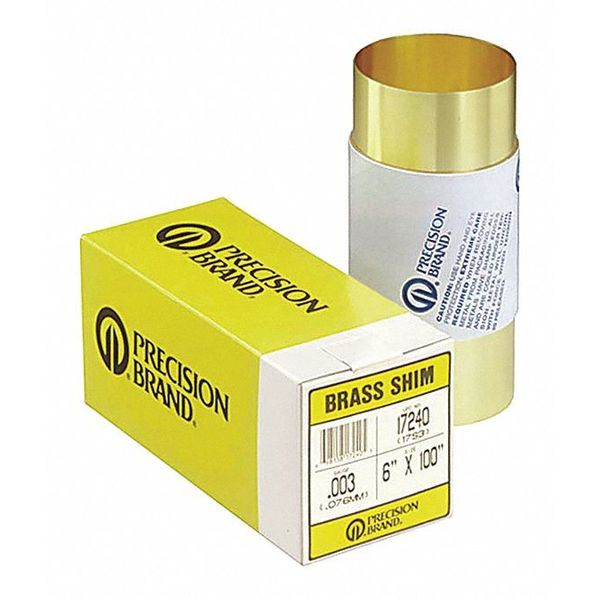 PRECISION BRAND 17515 Shim Stock,Roll,Brass,0.0250 In,6 In