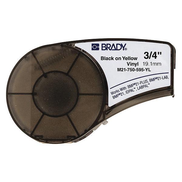 BRADY Label Cartridge,Black/Yellow,3/4 In. W, M21-750-595-YL