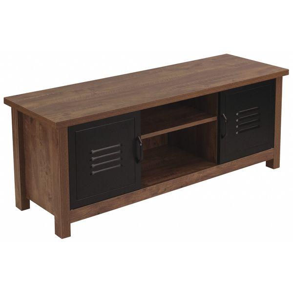 Storage Bench,Metal Cabinet Doors,Oak FLASH FURNITURE NAN-JN
