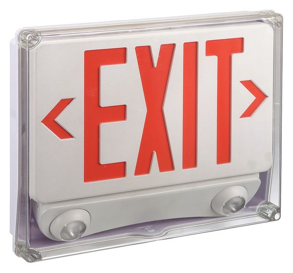 lumapro abs led exit sign with emergency light 35gw99. Black Bedroom Furniture Sets. Home Design Ideas