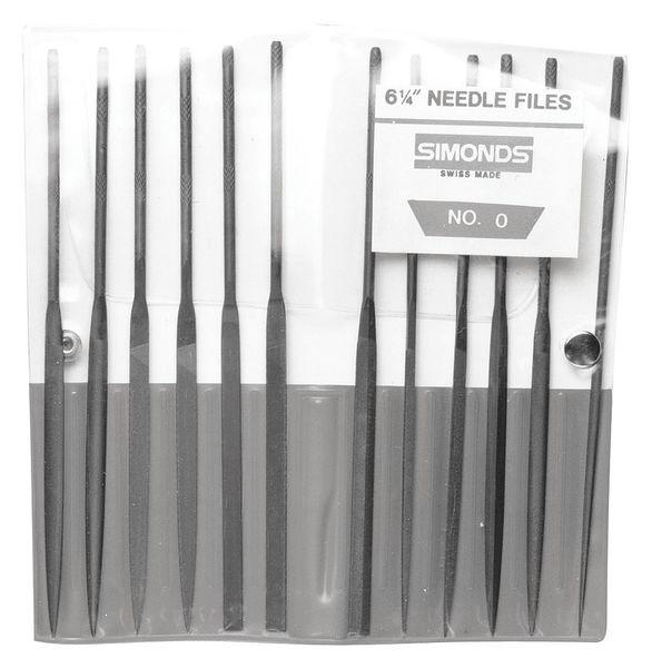 SIMONDS 83522500 Needle File Set,5-1/2in.L,Swiss,12 pcs.