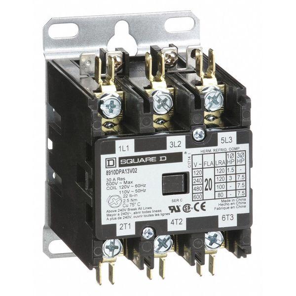 SQUARE D 8910DPA13V02 120VAC Non-Reversing Definite Purpose Contactor 3P 20A
