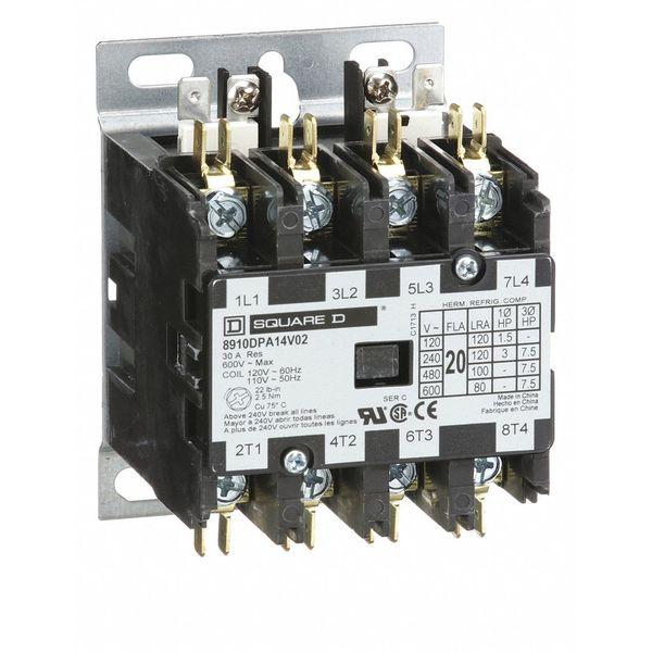 SQUARE D 8910DPA14V02 120VAC Non-Reversing Definite Purpose Contactor 4P 20A