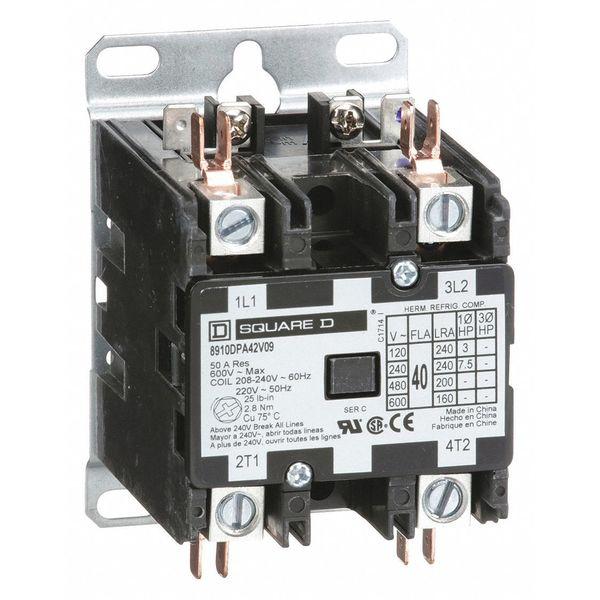 208/240VAC Non-Reversing Definite Purpose Contactor 2P 40A SQUARE D 8910DPA42V09