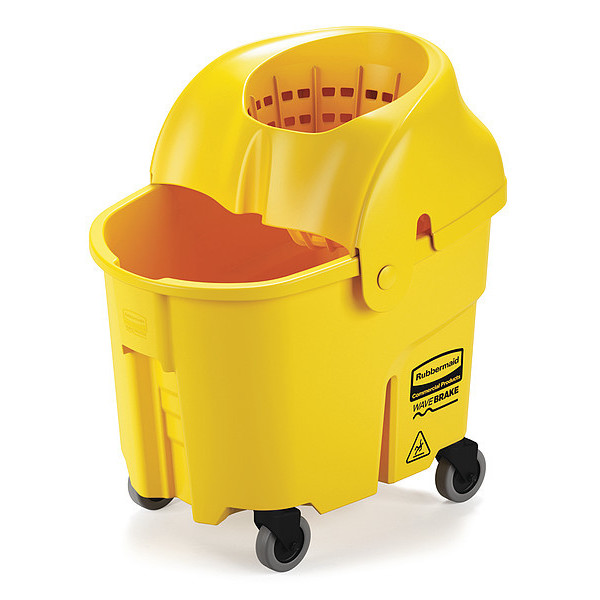 Mop Bucket and Wringer,35 qt.,Funnel RUBBERMAID FG759088YEL 86876179187
