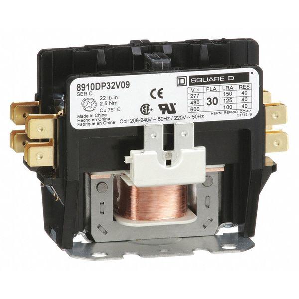 SQUARE D 8910DP32V09 208//240VAC Non-Reversing Definite Purpose Contactor 2P 30A