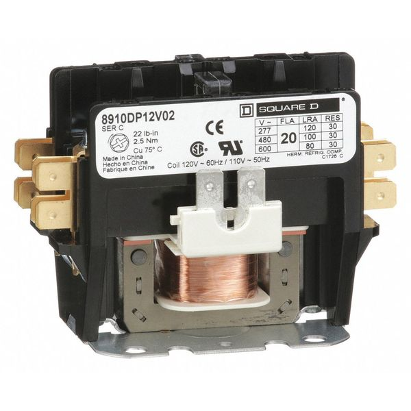 120VAC Non-Reversing Definite Purpose Contactor 2P 20A SQUARE D 8910DP12V02