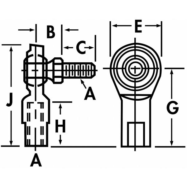 QA1 NFR8S Female Stud Rod End,Nylon//PTFE,RH,1//2-20