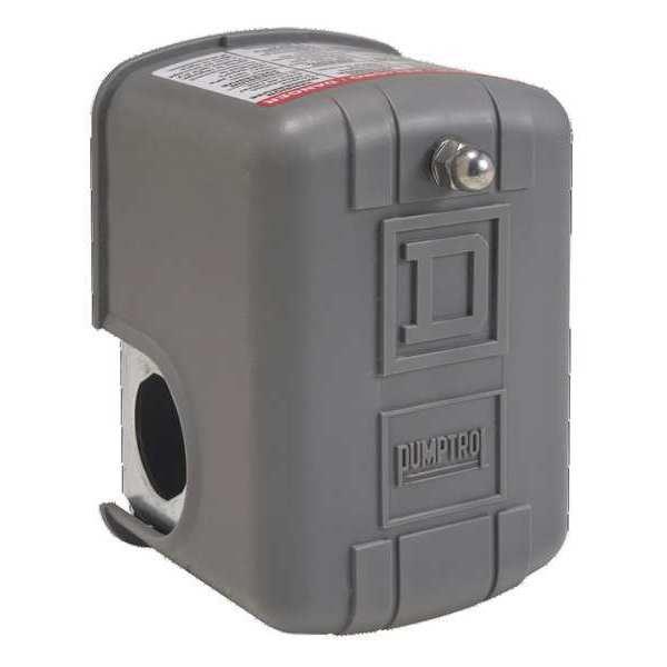 SQUARE D 9013FHG29J27 Pumptrol Pressure Swtch,20 to 100 psi,DPST,Stndrd