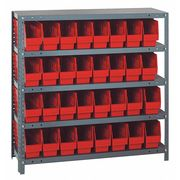 Bin Shelving, Solid, 36X12, 32 Bins, Red