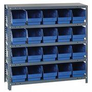Bin Shelving, Solid, 36X12, 20 Bins, Blue